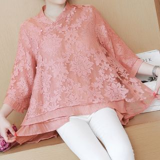 Lace Elbow-Sleeve Top 1062802411