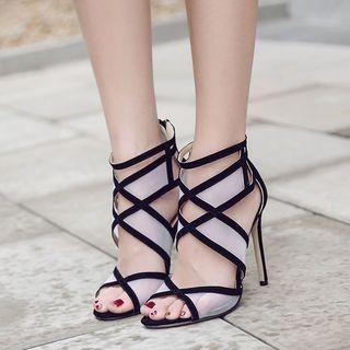 Peep Toe Cutout High Heel Sandals 1062439372