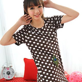 Buy 59 Seconds Short-Sleeve Polka Dot Long Top Chocolate Brown – One Size 1022465605