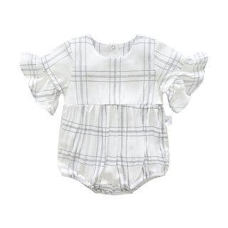 Baby Plaid Frilled Short-Sleeve Bodysuit