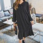 Frill-Sleeve Dotted Midi Chiffon Dress 1596