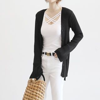 V-Neck Ribbed Cardigan 1059467844