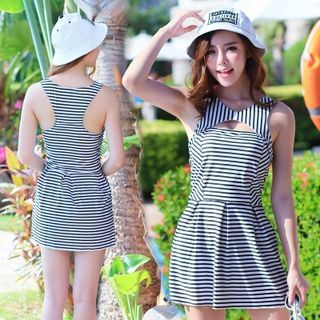 Set: Striped Swimdress + Swim Bottom 1049596537