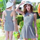 Set: Striped Swimdress + Swim Bottom 1596