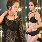 Set: Frill Trim Bikini + Lace Cover-Up 1596