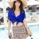 Set: Patterned Halter Bikini + Cover-up Top + Skirt 1596