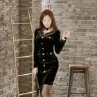 Buttoned Velvet Sheath Dress 1596
