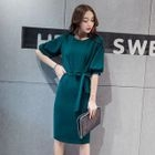 Elbow-Sleeve Tie-Waist Sheath Dress 1596
