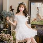 Off-shoulder Short-Sleeve Lace Dress 1596