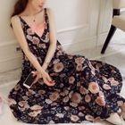 Maternity Set: Floral Print Strappy Midi Dress + Strappy Dress 1596