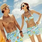 Floral Couple Bikini Set / Beach Shorts 1596