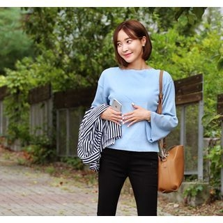 Boat-Neck Ribbed Knit Top 1053003160