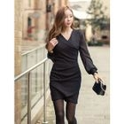 Chiffon-Sleeve Wrap Dress 1596
