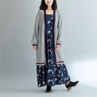 Contrast Trim Long Cardigan 1596
