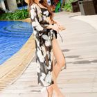 Set : Floral Print Bikini + Chiffon Cover-up 1596