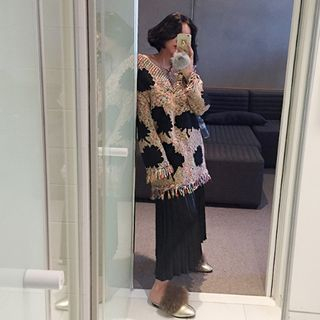 Band-Waist Pleated Long Skirt 1055240280