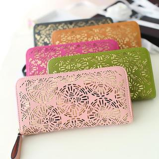 Laser Cut Faux-Leather Long Wallet