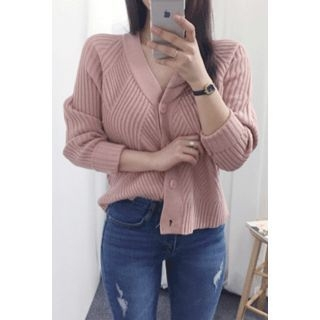V-Neck Ribbed Cardigan 1057937723