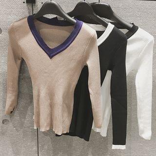 Ribbed V-Neck Long-Sleeve T-Shirt 1053362534
