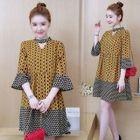 Ruffle Hem Cutout Patterned A-line Dress 1596