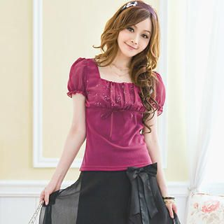 Buy Tokyo Fashion Puff-Sleeve Rhinestone Ruched Top 1023062777