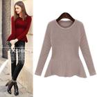 Long-Sleeve Plain Sweater 1596