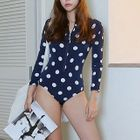 Long-Sleeve Dotted Swimsuit 1596