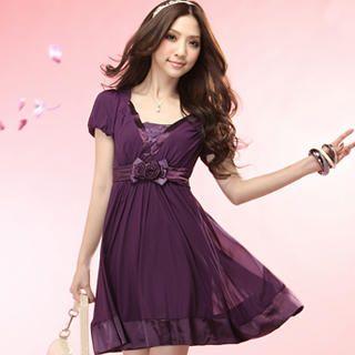 "Buy Tokyo Fashion Puff-Sleeve ""Rosette"" Chiffon Dress 1022996897"