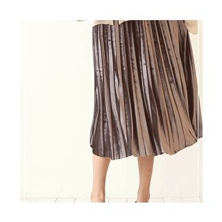Band-Waist Pleated Long Skirt 1062077474