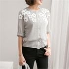 Round-Neck Appliqu  Cardigan 1596