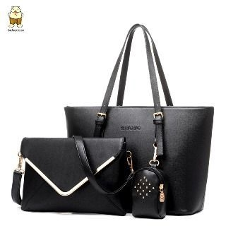 Set: Faux-Leather Tote + Cross Bag + Pouch 1065357230