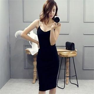 Faux-Pearl Detail Slit-Back Bodycon Dress 1051576422