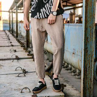 Striped Linen Capri Pants