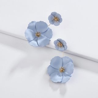 Image of Alloy Flower Dangle Earring 1 Pair - Yellow - One Size