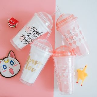 Printed Cup with Lid and Straw 1065536123
