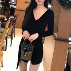 Long-Sleeve Velvet Mini Sheath Dress 1596