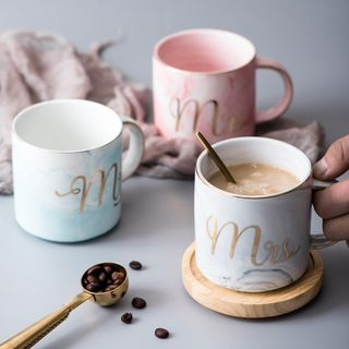 Image of Couple Matching Marble Print Lettering Ceramic Cup