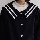 Sailor-Collar Buttoned Blouson Cardigan 1596
