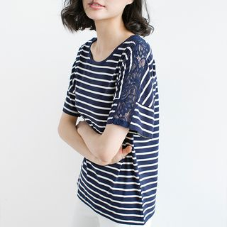 Image of Lace Panel Striped Short-Sleeve T-Shirt