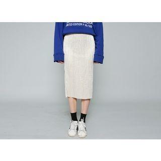 Metallic Ribbed Midi Skirt 1057084809