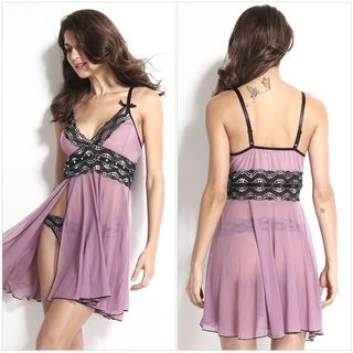 Set: Lace Nightdress + Thong 1056897006