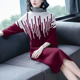 Image of 3/4-Sleeve Color Block Midi Sweater Dress