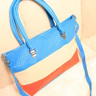 Color-Block Tote with Pouch