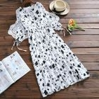 Floral Print Elbow Sleeve Dress 1596