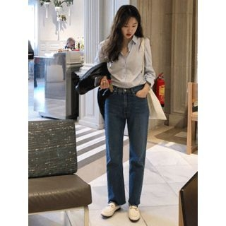 Washed Straight-Cut Jeans 1065316654
