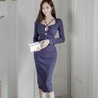 Plain Cutout Long-Sleeve Pencil Dress 1596