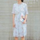 Floral Print Short-Sleeve A-Line Dress 1596