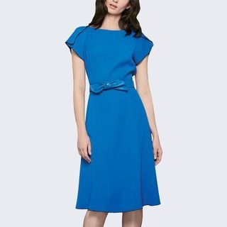 Cap-Sleeve Tie-Waist Dress 1061919870