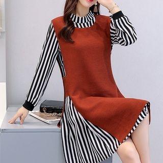 Set: Striped Long-Sleeve A-Line Dress + Pinafore Dress 1062615649