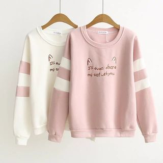 Image of Contrast-Color Embroidered Pullover